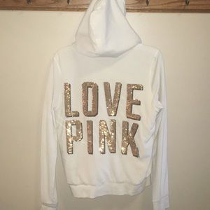 Pink Victoria Secret hoodie with sequins size L